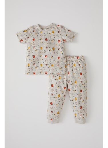 DeFacto Erkek Bebek Desenli Kısa Kol Pijama Takımı Bej